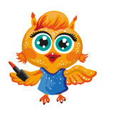 Vector cute owl. Cartoon character. Make-up artist. Stock Images