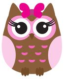 Vector Cute Owl With Pink Bow. stock illustration
