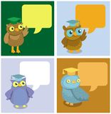 Vector cute owl with speech bubbles Stock Photos