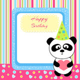 Vector cute panda with birthday card Royalty Free Stock Image