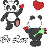 Vector cute panda on white background. Stock Images