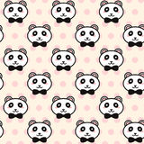 Vector cute pandas with black bows pattern Royalty Free Stock Images