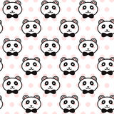 Vector cute pandas with black bows pattern on the pink polka dot background Royalty Free Stock Photos
