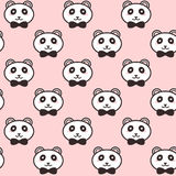 Vector cute pandas with black bows pattern Royalty Free Stock Image