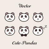 Vector cute pandas with different emotions set. Stock Photography