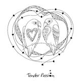 Vector cute parrots couple in contour style. Outline birds and ornate frame with hearts isolated on white background. Royalty Free Stock Photo