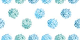 Vector Cute Pastel Blue Birthday Party Paper Pom Poms Set Horizontal Seamless Repeat Border Pattern. Great for handmade Stock Image