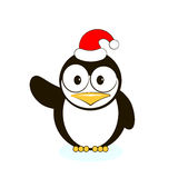 Vector of cute penguin. In red Santa's hat isolated Royalty Free Stock Photo