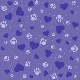 Seamless lovely pattern with small hearts and paw prints dog. Vector cute pets purple background. Gift wrap, print, cloth, cute background for a card Stock Illustration