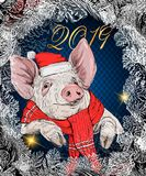 Vector cute pig in palm leaves. Pig in glasses with a cocktail in his hand. New year symbol 2019. Template for design of cards, ca royalty free illustration