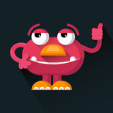 Vector cute pink funny Monster in trendy flat style. Royalty Free Stock Images