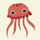 Vector cute pink jellyfish Stock Images