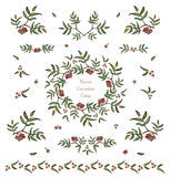 Vector cute plant decorative elements and vignettes. Vector set of cute tree twigs decorative elements, borders and vignettes made of rowan tree berries and Stock Photo