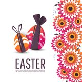 Easter egg hunt party vector poster design template. Vector cute poster for Easter Egg  with line eggs. Concept for banner, flyer, invitation, greeting card Royalty Free Stock Photo