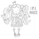 Vector cute princess fairy girl in crown. Vector line illustration.Sketch for postcard or print or coloring adult book.Hand drawn free style Stock Photo