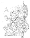 Vector cute princess fairy girl . Vector cute princess fairy girl  from story magic .Vector line zen art illustration.Sketch for postcard or print or coloring Stock Photography