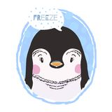 Vector cute print with an penguin animal and an inscription Freeze,in white background. royalty free illustration