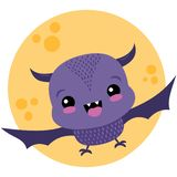 Vector Cute Purple Bat and Moon Halloween Illustration royalty free stock images