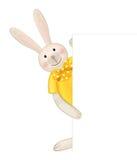 Vector of cute rabbit hiding by blank. Royalty Free Stock Photos
