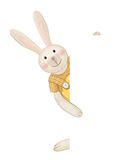 Vector of cute rabbit hiding by blank. Stock Image