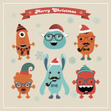 Vector Cute Retro Hipster Christmas Monsters Set Stock Photography