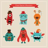 Vector Cute Retro Hipster Monsters Set Royalty Free Stock Photo
