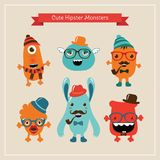 Vector Cute Retro Hipster Monsters Set Royalty Free Stock Photography