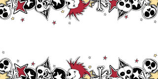 Vector cute rock n roll frame. Hand drawn horizontal banner. Cartoon style Stock Images