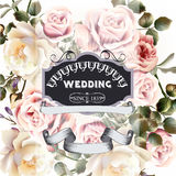 Vector cute roses in vintage style for design. Elegant wedding greeting card with roses and banner Royalty Free Stock Photos