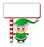 Vector cute Santa helper boy with blank Royalty Free Stock Photo