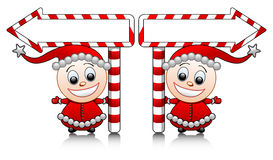 Vector cute Santa helpers with arrows Royalty Free Stock Images