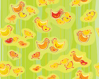 Vector cute seamless chickens pattern. Stock Images
