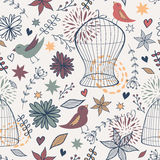 Vector cute seamless floral pattern with birds, cages, flowers, leaves and hearts Stock Image
