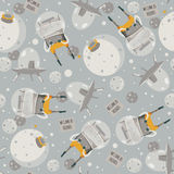 Vector cute seamless illustration with lovely aliens, space ship and little planet. Grey and yellow colors. Kind childish pattern,. Good for creative wrapping Royalty Free Stock Images