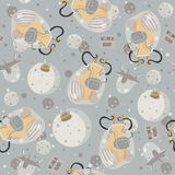 Vector cute seamless illustration with lovely aliens, space ship and little planet. Grey and yellow colors. Kind childish pattern,. Good for creative wrapping Royalty Free Stock Photo