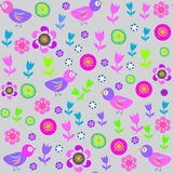 Vector cute seamless pattern with cartoon bird and Royalty Free Stock Image