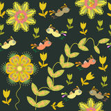 Vector cute seamless pattern with cartoon bird and Royalty Free Stock Photo