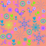 Vector cute seamless pattern with cartoon bird and Royalty Free Stock Images
