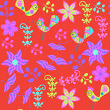 Vector cute seamless pattern with cartoon bird and Royalty Free Stock Photos