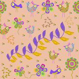 Vector cute seamless pattern with cartoon bird and Royalty Free Stock Photography