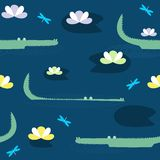 Vector cute seamless pattern with hand drawn crocodiles. Stock illustration Royalty Free Stock Image