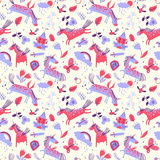 Vector cute seamless pattern with magic unicorns. Royalty Free Stock Photos