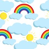 Cute vector seamless pattern with rainbows and clouds icons. stock illustration