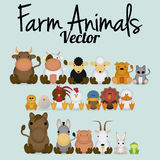 Vector Cute Set Of Different Farm Animals Royalty Free Stock Photography
