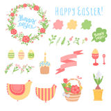 Vector cute set of elements on a white background. Happy Easter vector set with various objects isolated Royalty Free Stock Photography