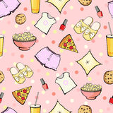 Vector Cute Sleepover Party Food Objects Seamless Royalty Free Stock Images