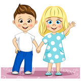 Vector cute smiling children Best Friends. Stylish kids holding hands their illustration. For your design royalty free illustration