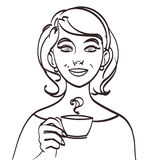 Vector cute smiling woman with tea or coffee.  eps 10 Stock Images