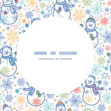 Vector cute snowmen circle frame seamless pattern Royalty Free Stock Image