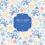 Vector cute snowmen frame seamless pattern Stock Image